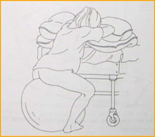Sitting on a birth ball makes it easy to rock your pelvis.