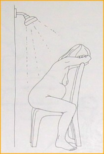 Standing or sitting in the shower will help ease much of the pain, especially towards the end of the first stage.
