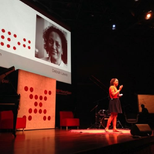 Debrah Lewis, speaking at TEDxPortofSpain, November 30, 2012. Photo by Georgia Popplewell, used with permission.